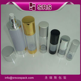 SRS wholesale cosmetic packaging Round Aluminum Airless Clear sprayer Bottle with lid