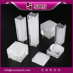 SRS wholesale empty acrylic square skin care cream jar and lotion bottle with pump
