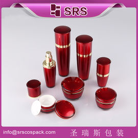 SRS China manufacturer plastic drum shape acrylic lotion bottle and cream jar combination