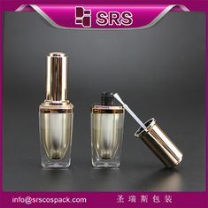 SRS wholesale luxury empty square 8ml plastic nail polish bottle with golden brush cap