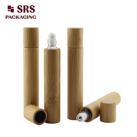 China 15ml real bamboo roller olive oil glass bottle no leakage good massage perfume bottle factory supplier