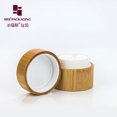 China luxury organic natural bamboo lid empty cream cosmetic plastic jar 30ml supplier