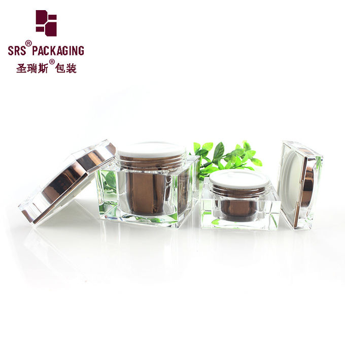 15g 50g 80g square shape cosmetic acrylic face care fancy cream jar